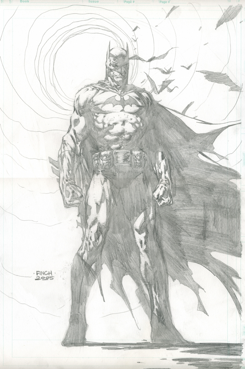 batman in david finchs pencils comic art gallery room