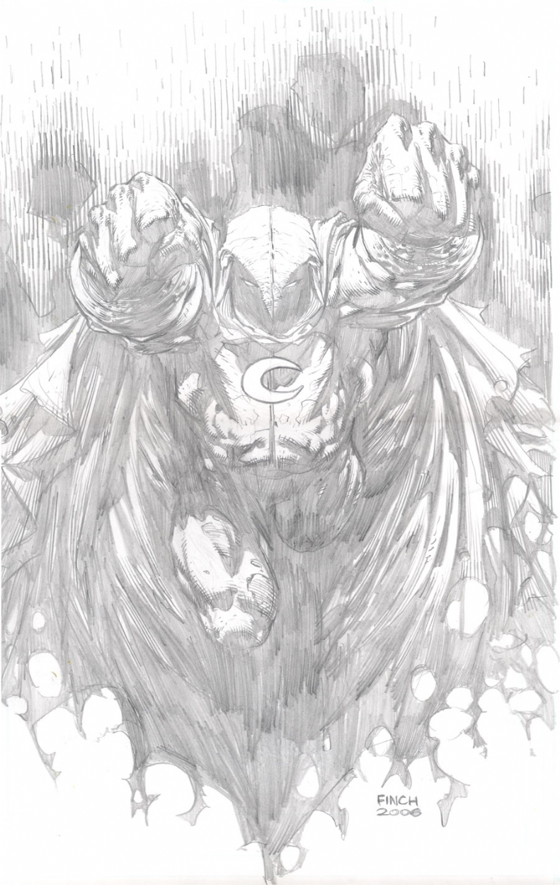 Room Drawing Pencil: Moon Knight, In David Finch's Pencils Comic Art Gallery Room