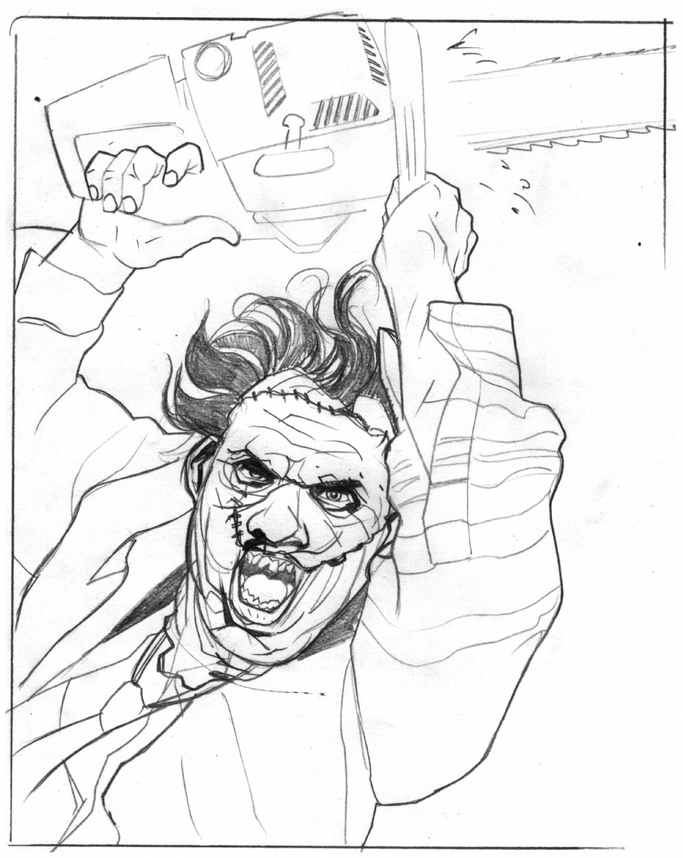 leatherface sketch  in tom feister u0026 39 s sketches comic art
