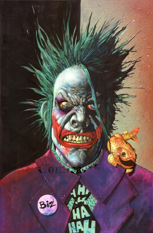 joker with fish by simon bisley in e vetss simon