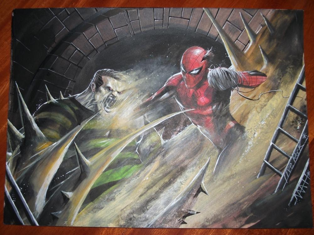 - SOLD -, ORIGINAL ART SPIDERMAN SPIDER MAN VS SANDMAN ...