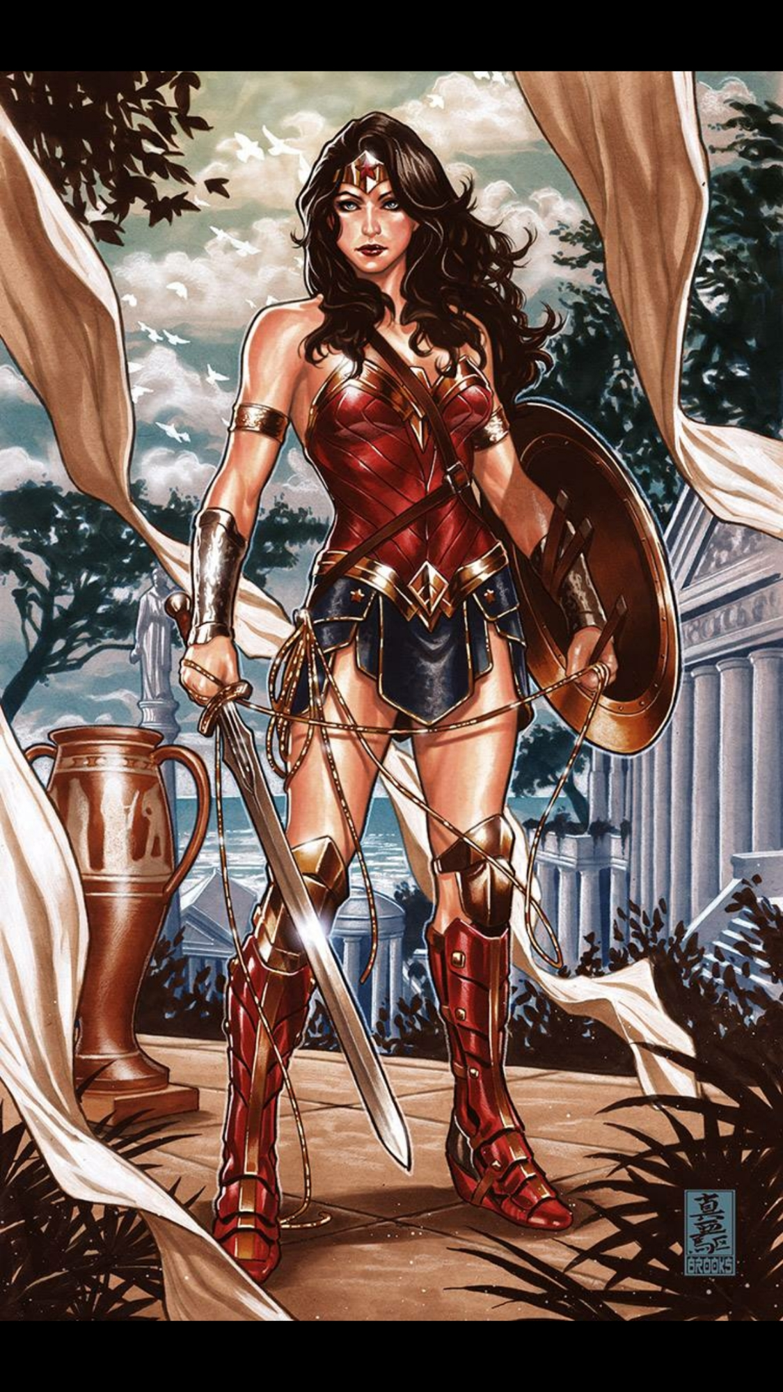 mark brooks wonder woman jl 1 variant cover in naqam
