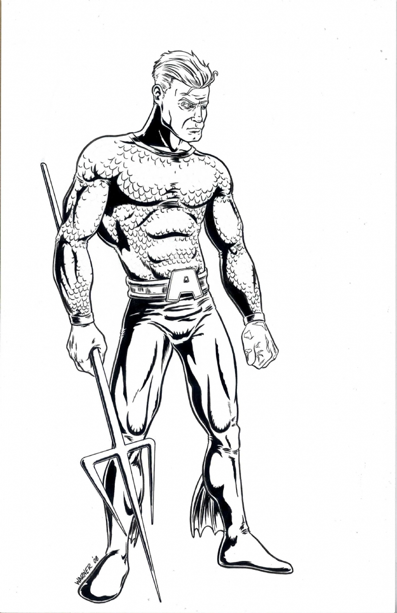 Aquaman In Josh Warneru0026#39;s Original Art For Sale Comic Art Gallery Room
