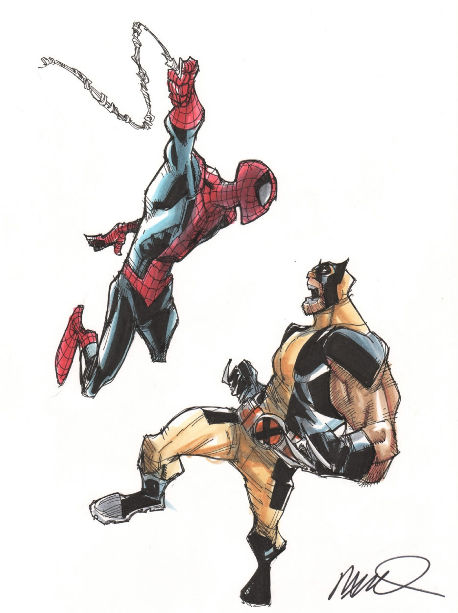humberto ramos spiderman vs wolverine colored in