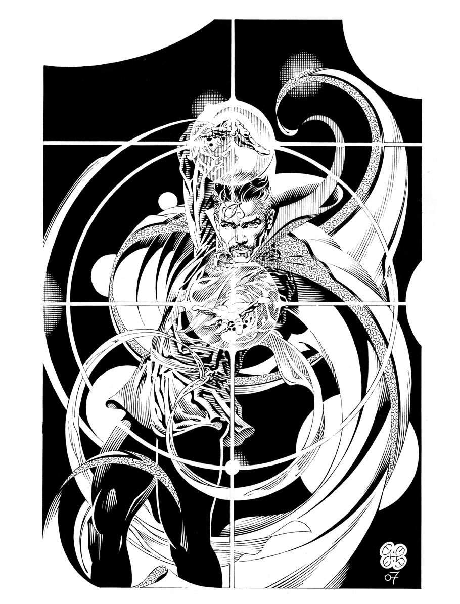 Weird Black And White Art : Doctor strange in craig hamilton s black and white heroes