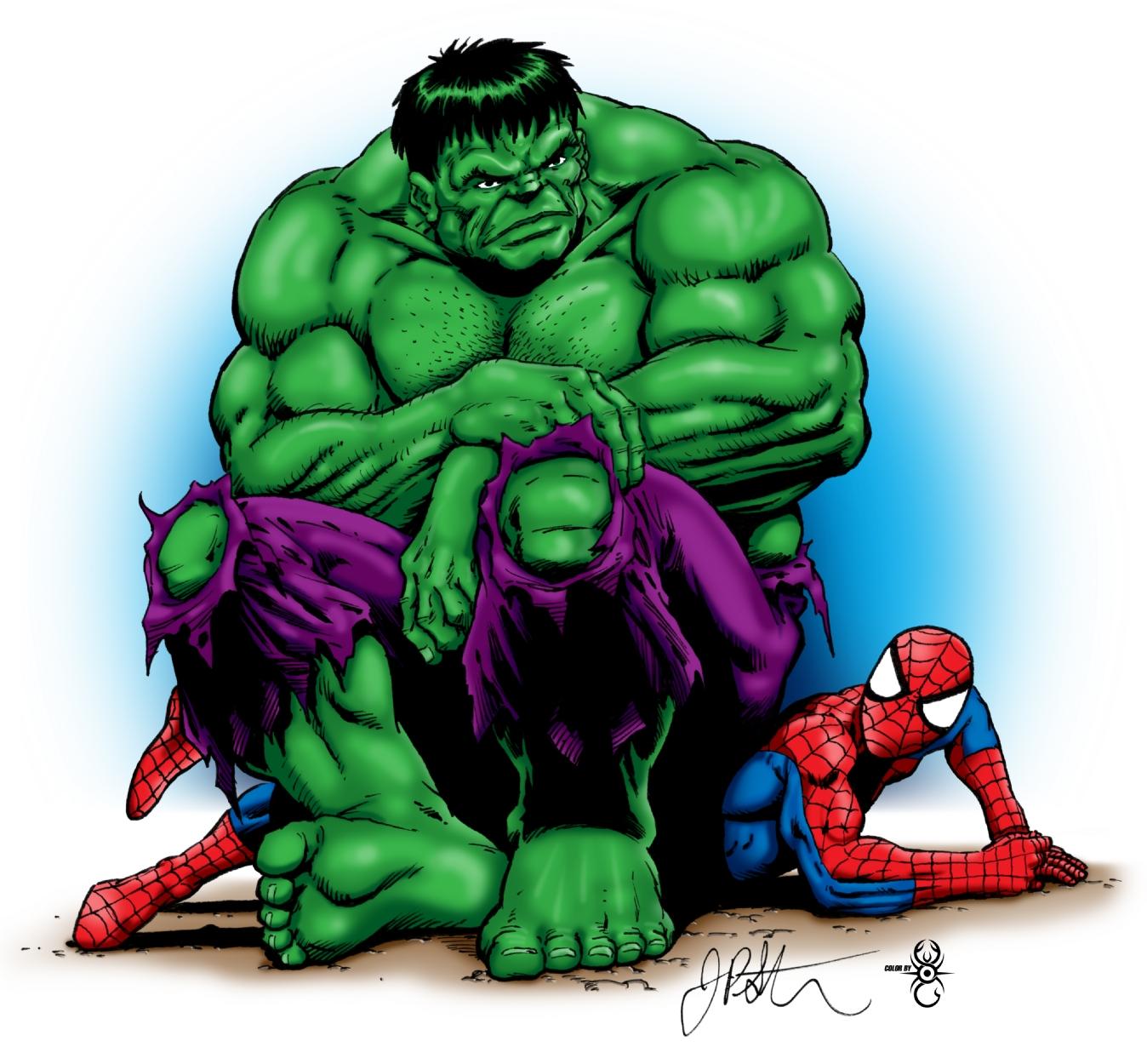 Hulk & Spiderman -colored, in John Braun's Hulk Versus