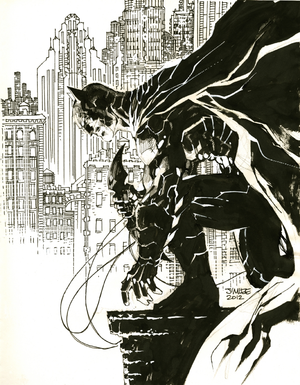 Jim Lee Batman Sketch In J Lu0026#39;s Jim Lee Comic Art Gallery Room